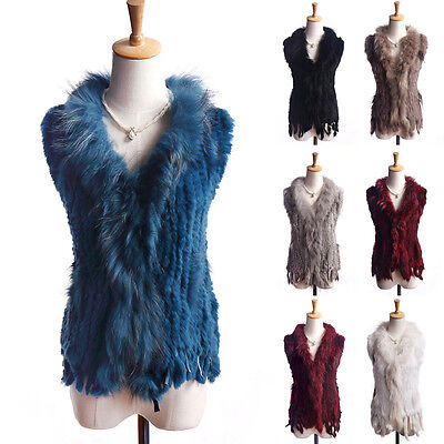 2017 Gorgeous Real Knitted Rabbit Fur Shawl Cape Vest/Gilet QualityNew Year Coat