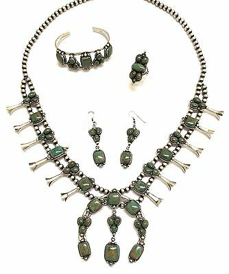Beautiful Navajo Sterling Silver Nevada Turquoise 4 Piece Squash Blossom Set