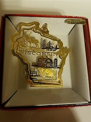 Wisconsin  Brass Christmas Ornament