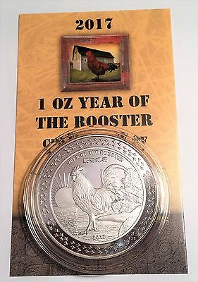 "2017 ""YEAR OF THE ROOSTER"" 1 Oz Coin 999 Fine Silver Plated Edition COA, Gift"