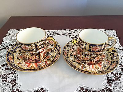 1918 ROYAL CROWN DERBY Imari Coffee Cup And Saucer X2 2451