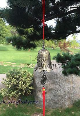 Old style chinese copper dragon arhat bless courtyard Tassel Hanging metal bell