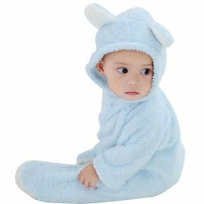 Newborn Baby Boys Girls Romper Hooded Fleece Jumpsuit Bodysuit Outfits Clothes