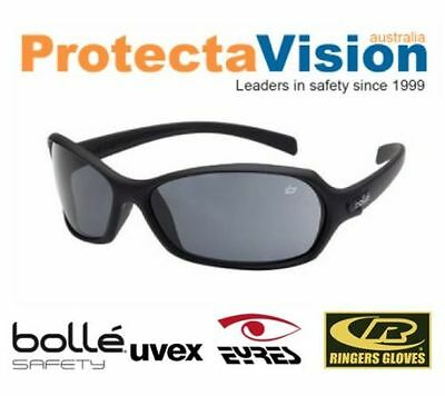 NEW Bolle Hurricane Safety Glasses Black Frame Smoke Lens Sunglasses