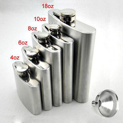 Stainless Hip Liquor Whiskey Alcohol Pocket Flask+Funnel+Cup Gift WKAU