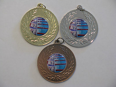 Swimming Medal 50mm Gold,Silver or Bronze Free Engraved & Neck Ribbon
