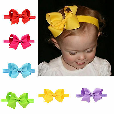 4 Inch Baby Girls Bowknot Ribbon Headbands Elastic Hair Bands Solid Hair Bows