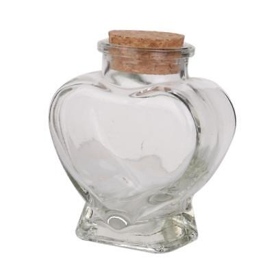 Mini Heart Shape Glass Favor Storage Jars Bottle Containers w/ Cork Gifts
