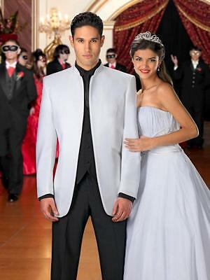 2017 White and Black Men Wedding Suits Groom Tuxedos Best Man Prom Suit 3 Piece
