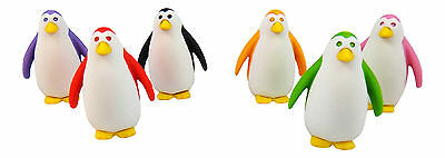 Iwako Japanese Erasers Set of 6 Penguin Limited Edition Kawaii Collection Colors