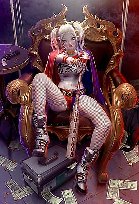 HARLEY QUINN SUICIDE SQUAD ANIMATION ART IMAGE A4 Poster Gloss Print Laminated
