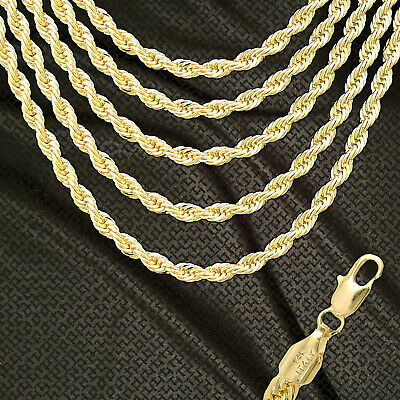 14K ITALY GOLD PLATED 6mm ROPE CHAIN NECKLACE GUARANTEED SAME DAY SHIP R6ALL