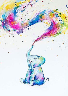 BABY ELEPHANT WATERCOLOUR Art Image A4 Poster Print Laminated