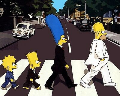 THE SIMPSONS, ABBEY ROAD, Image A4 Poster Gloss Print Laminated (New)