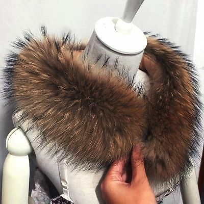 Long Real Fur Collar Warm Winter Women Coat Sweater Scarves Fur Neck warps 70 cm