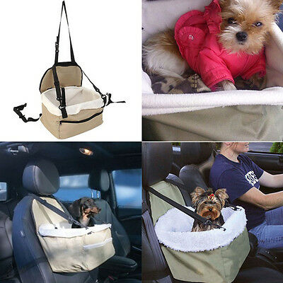 Pet Dog Travel Foldable Booster Bag Safety Puppy Car Seat Carrier Light Brown SN