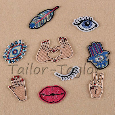 1 Pc Embroidered Hand Eyes Sew Iron On Patch Badge Cloth Bag Fabric Applique