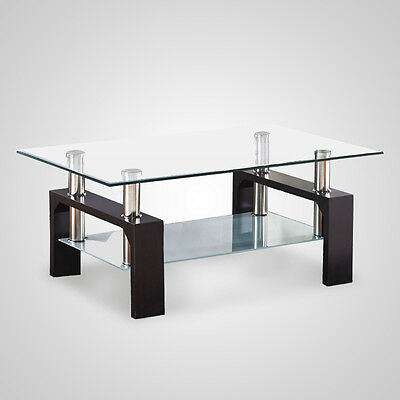 Modern Rectangle Oval Glass Chrome Living Room Coffee Table With Lower Shelf