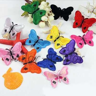 Mix Butterfly Embroidered Iron on Patch Badge sew Dress Fabric Sticker Appliques