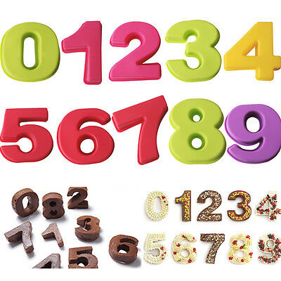10Pcs Silicone Number Mold DIY Baking Cake Tin Mould Birthday Anniversary 0-9