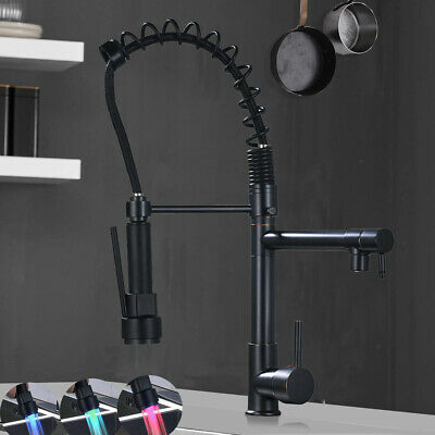 Oil Rubbed Bronze Kitchen Faucet Swivel Spout Single Handle Pull Down Sprayer