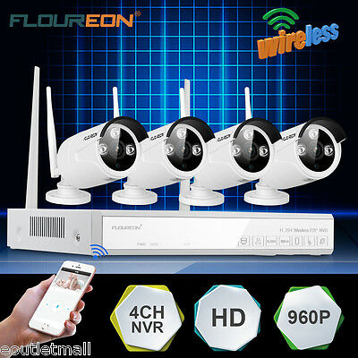 Wireless 4CH WIFI 1080P CCTV NVR DVR 2MP Network Security Video System IP Camera