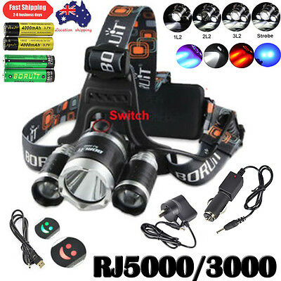 2017 BORUiT 40W 13000LM Headlamp 3* US XM-L 3L2 LED Head light 6000mAh Powerbank