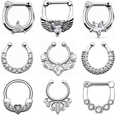1PCS 100% SURGICAL STEEL CZ Gem Nose Ring Non-Pierced or Clicker Type you choose