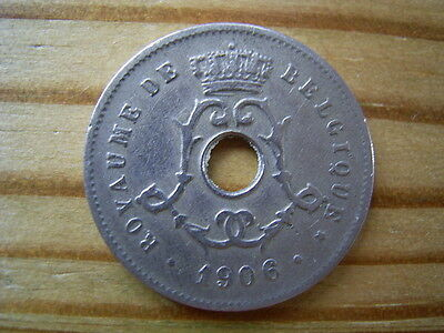 1906  belgium 5 cents coin collectable
