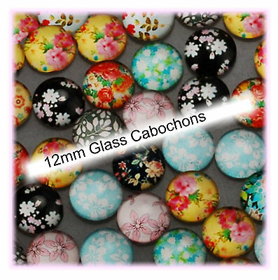 Glass Cabochons for Earring Studs  12mm 40 pieces in Pairs