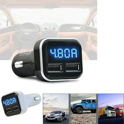 Dual USB 4.8A Car Charger Adapter LED Display Fast Charging for iPhone Samsung