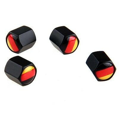 Universal Car Wheel Tire Valve Stem Air Dust CAPS German Germany Flag Logo Black