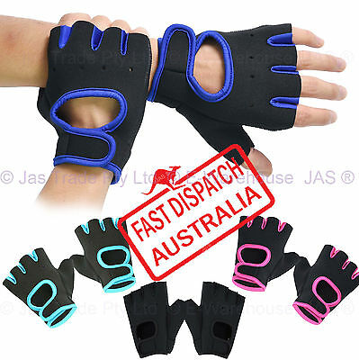 Uni-sex Weight Lifting Gym Fingerless Gloves Workout Grip Sports Pads Neoprene