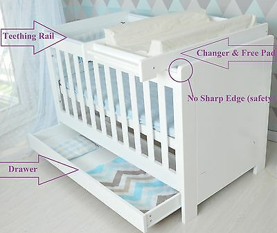 3 in1 Modern Baby Cot crib white with drawer toddler bed & ChangeTable