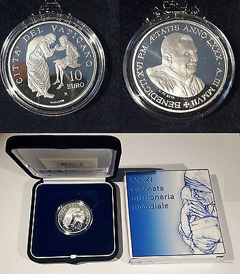 VATICAN CITY 10 EURO 2007 - 81st World Mission Day SILVER PROOF COIN with Case