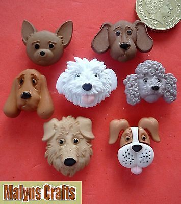 DOGS FACES Craft Buttons Plastic Novelty Animal Pets Puppies Puppy Dog Heads Pup
