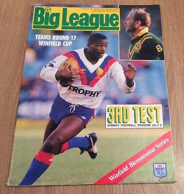 Australia V Great Britain  Rugby League 3rd Test Jul 88 Big League Prog/Mag