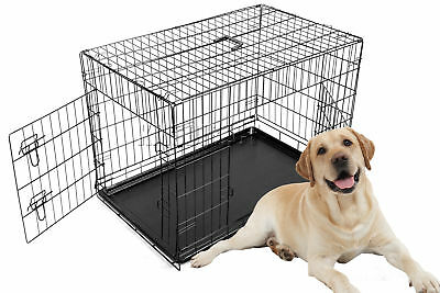 "FoxHunter 36"" Folding Pet Dog Puppy Cat Training Cage Crate Large Black Two Door"
