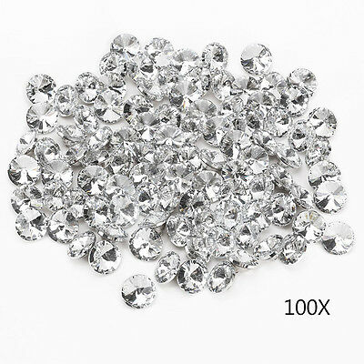 100pcs 25MM Clear Faceted Glass Crystal Diamante Rhinestone Silver Buttons Decor