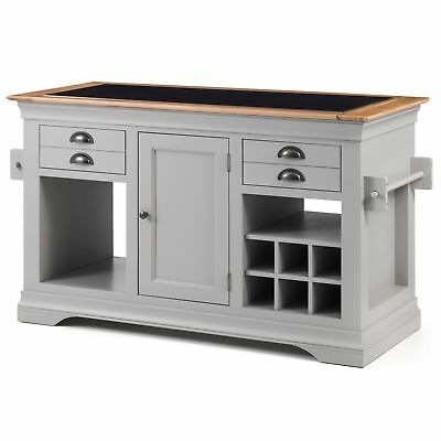 Kansas grey painted furniture large granite top kitchen island unit worktop