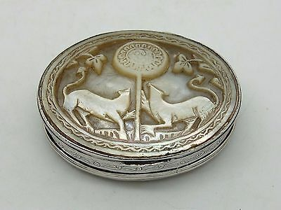 Antique George II Silver and Mother of pearl Snuff box England circa 1740 - 1750
