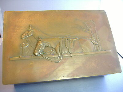 Great Vintage Bronze Top Box With Saddled Horses &  Dog