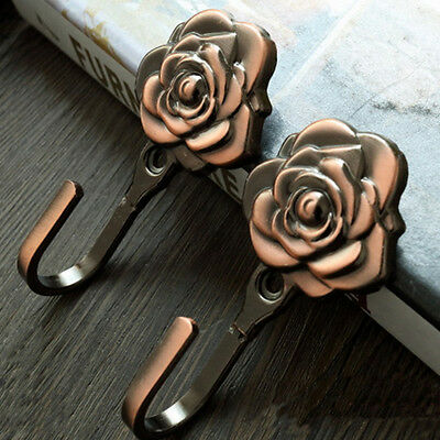 2 Pcs Antique Copper Rose Curtain Tieback Hold Backs Door Wall Hooks Hanger Home