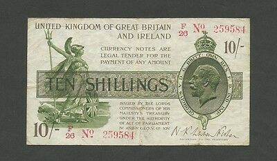 ENGLAND - KGV Fisher 10s/- 1919-22 (T26)  Fine+  ( Treasury Banknotes )