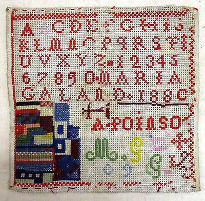 French antique  SAMPLER,  dated 1880