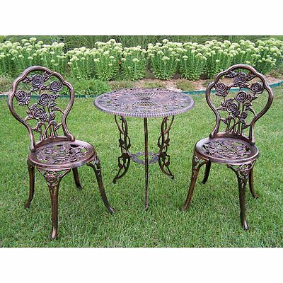 Outdoor Patio Set Bistro Table Chairs Antique Bronze Furniture Wrought Iron NEW