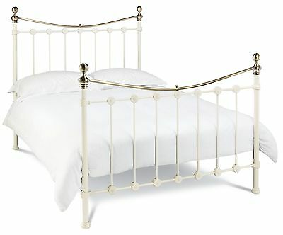 Bentley Designs Amelie Antique White/Brass Bedstead 122 135 150cm Double King