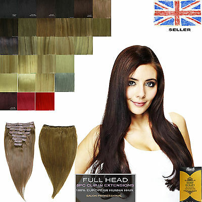 Silky Straight European Clip in 8pcs Remy AAAAA Grade 100% Human Hair Extensions