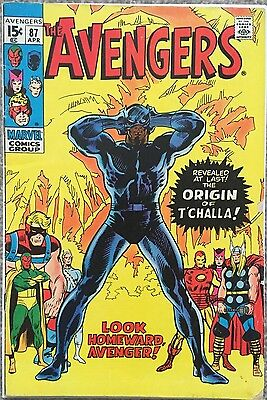 Avengers # 87 - Marvel Comics Rare April 1971- Fine Minus - Origin Black Panther