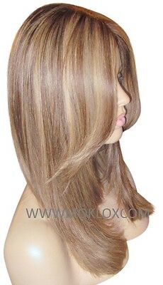 """Remy Human Hair Wig Glueless Front Lace 16"""" Medium Brown Blonde 4 27 Highlights"""